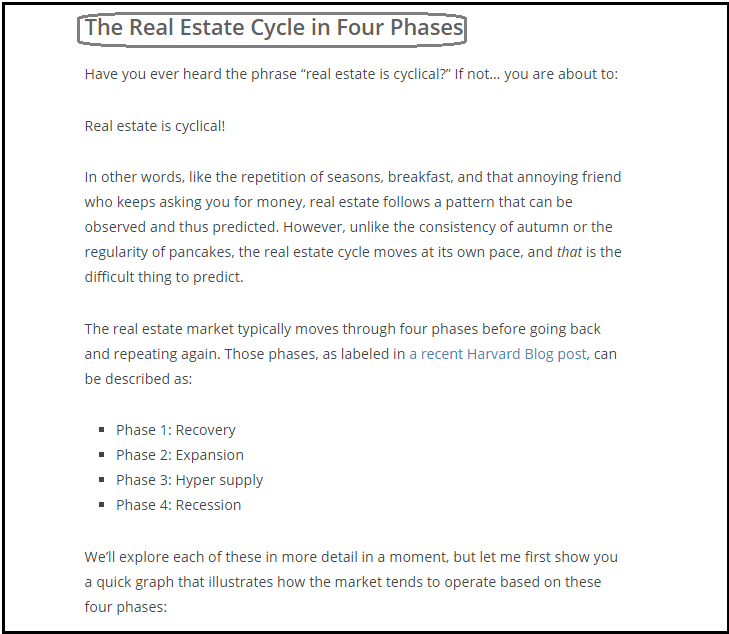 DC Fawcett Real Estate Market cycle in Four Phases
